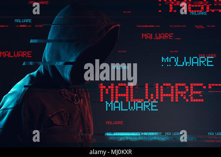 Malware concept with faceless hooded male person, low key red and blue lit image and digital glitch effect - Stock Photo