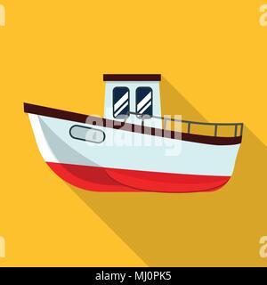 Fishing ship icon, flat style - Stock Photo