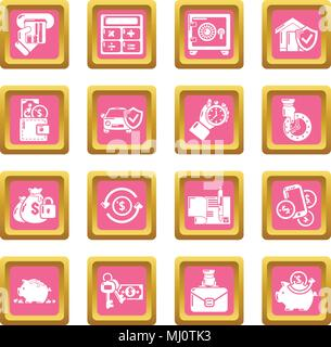 Credit icons set pink square vector - Stock Photo
