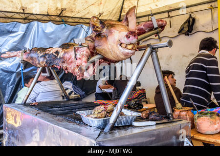 Santiago Sacatepequez, Guatemala - November 1, 2017: Whole roasted pig on spit at streetside food stall during giant kite festival on All Saints' Day - Stock Photo