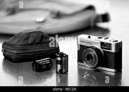 Olympus Trip 35mm compact film camera built between 1968 - 1983. - Stock Photo