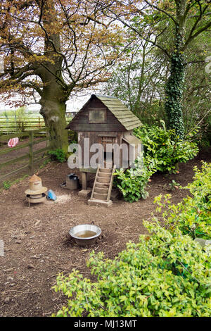 Chicken coop, hen house, farm, house, bird, animal, poultry, nature, food, agriculture, farming, rural, egg, domestic, rooster, in domestic garden UK - Stock Photo