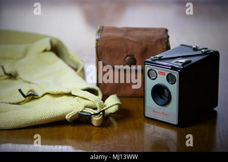 A Kodak Brownie Model 1 Camera and carry case. - Stock Photo