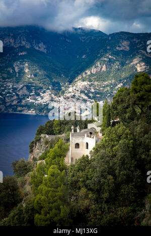 Ruins of a cliff-side villa overlooking the Amalfi Coast near Positano, Campania, Italy - Stock Photo