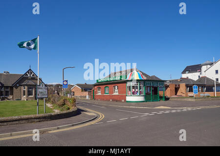 The Caledonia Golf Club Clubhouse and Simpsons Golf Shop at the T junction on to Links Parade in Carnoustie, Angus, Scotland. - Stock Photo
