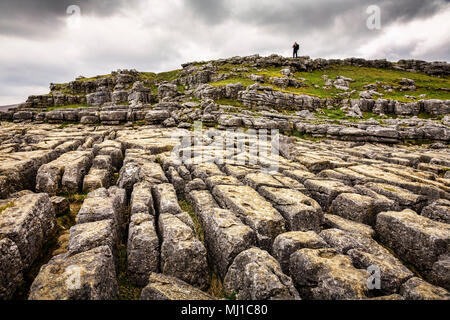 Limestone karst pavement at Malham Cove, Yorkshire Dales, England. - Stock Photo