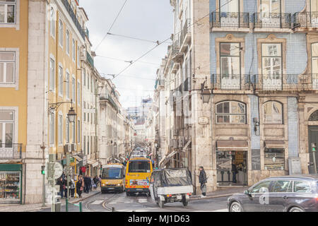 1 March 2018: Lisbon, Portugal - Traffic in a busy street, Rua da Conceicao, in the central city. - Stock Photo