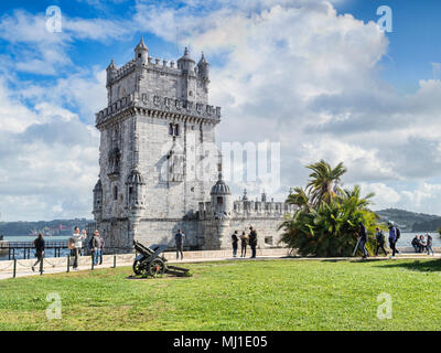 5 March 2018: Lisbon Portugal -The Belem Tower, famous landmark and UNESCO World Heritage Site. - Stock Photo