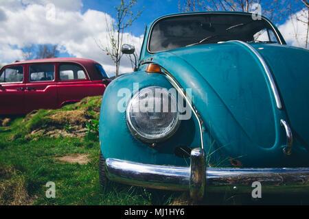 old Volkswagon Beetle car in junkyard - Stock Photo