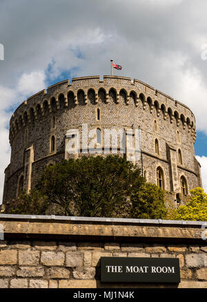 The Keep, Round Tower, Windsor Castle, Windsor, Berkshire, England, UK, GB. - Stock Photo