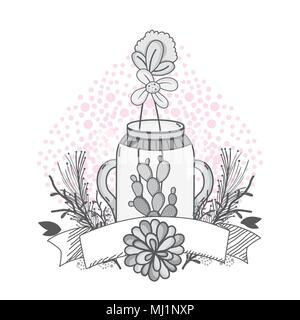 Flowers in mason jar drawing design - Stock Photo