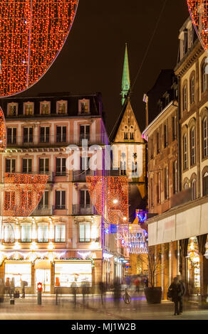 Christmas decorations on streets of Strasbourg. Alsace, France - Stock Photo