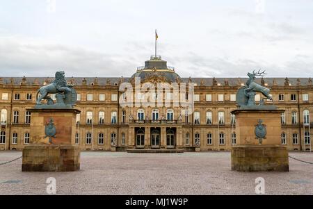 Neues Schloss (New Castle) in Stuttgart, Germany - Stock Photo