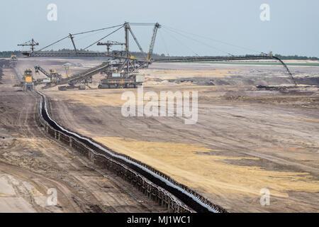 soft coal opencast mining in Lusatia, Germany - Stock Photo