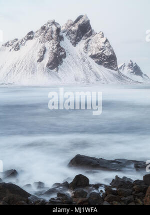 Vestrahorn and  Brunnhorn mountains from Stokksnes in Iceland - Stock Photo