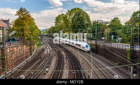 High-speed train in Offenburg, Germany - Stock Photo