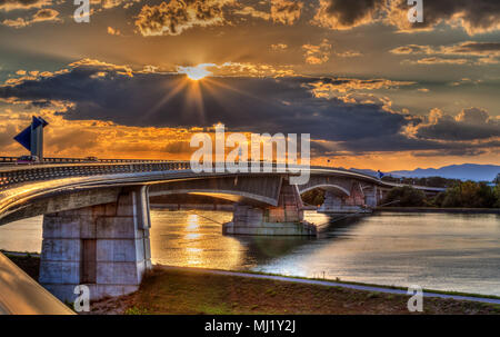 Pierre Pflimlin motorway bridge over the Rhine between France an - Stock Photo