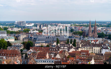 View of Strasbourg from a roof of the cathedral - Stock Photo