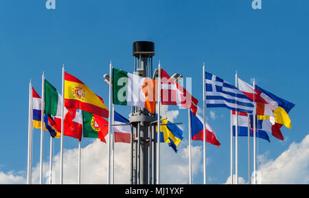 National flags of European countries on the European Square in K - Stock Photo
