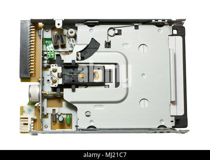 Floppy drive with disk inside - Stock Photo