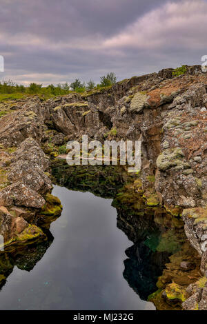 Flosagja Canyon (one of main geological faults in park), Thingvellir National Park, Iceland - Stock Photo