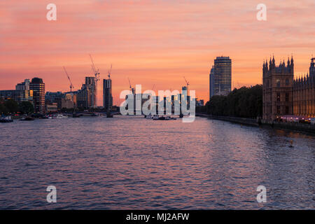 View of the city skyline of Vauxhall, London, including St George Wharf,,along the River Thames, from Westminster Bridge - Stock Photo