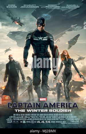 Captain America: The Winter Soldier (2014) directed by Anthony Russo and Joe Russo and starring Chris Evans, Samuel L. Jackson and Scarlett Johansson. Captain America and the Black Widow take on the assassin known as the Winter Soldier. - Stock Photo