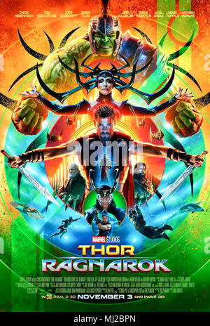 Thor: Ragnarok (2017) directed by Taika Waititi and starring Chris Hemsworth, Jeff Goldblum, Tessa Thompson and Mark Ruffalo. Thor gets stranded enroute to his homeworld on the planet Sakaar where he meets an old friend and a Valkyrie. - Stock Photo