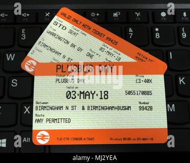 Plusbus rail ticket bus travel for Birmingham on WM travel, UK - Stock Photo