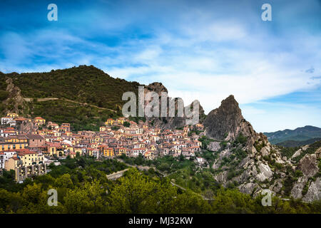 Castelmezzano village in Apennines Dolomiti Lucane. Basilicata, Italy. - Stock Photo