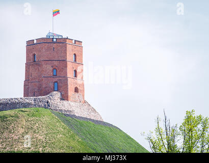 Gediminas' Tower is the remaining part of the Upper Castle in Vilnius, Lithuania. It is an important state and historic symbol of the city of Vilnius  - Stock Photo