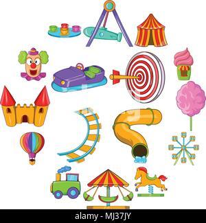 Amusement Park icons set, cartoon style - Stock Photo