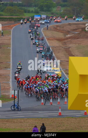 Tour De Yorkshire 2018 Stage 1 heading down the Great Yorkshire Way in Doncaster - Stock Photo