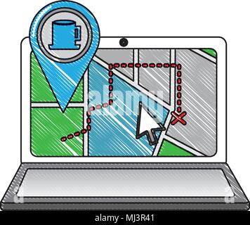 laptop map gps navigation pin coffee cup shop mark vector illustration drawing - Stock Photo