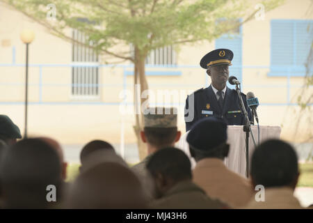 Senegalese Col. Boucar Sene, second in command of the Senegalese air force, speaks during the closing ceremony of African Partnership Flight Senegal at Captain Andalla Cissé Air Base, Senegal, March 23, 2018 The APF program is U.S. Air Forces in Africa's premier security cooperation program with African partner nations to improve professional military aviation knowledge and skills. (U.S. Air Force Image collection celebrating the bravery dedication commitment and sacrifice of U.S. Armed Forces and civilian personnel. - Stock Photo
