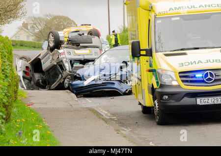 Atlantic Road, Portrush, Co.Londonderry, Northern Ireland, UK, 4/5/18. Atr 9am an early morning accident occurred on the Atlantic Road which is the main Road into Coleraine. Police and ambulance were in attendance. One vehicle ended up on its roof fortunately according to police at the scene there were no serious injuries.. Credit Brian Wilkinson/Alamy Live News. - Stock Photo