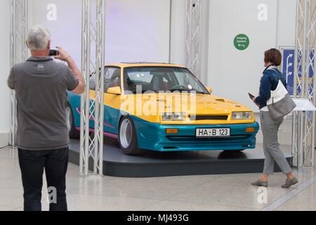 04 May 2018, Germany, Dresden: An Opel Manta B is on display at the Transport Museum's exhibition 'The Germans and their cars'. The exhibition runs from 5 May 2018 to 6 January 2019 and showcase around 800 objects illustrating the social and culture significance of cars in Germany. Photo: Sebastian Kahnert/dpa Credit: dpa picture alliance/Alamy Live News - Stock Photo