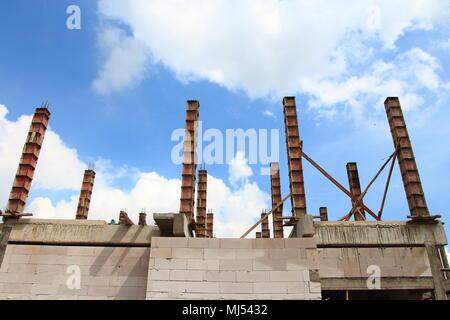 construction site. house building construction in progress. Column concrete - Stock Photo