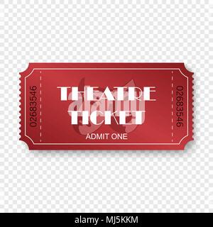 Theatre ticket isolated on transparent background. - Stock Photo