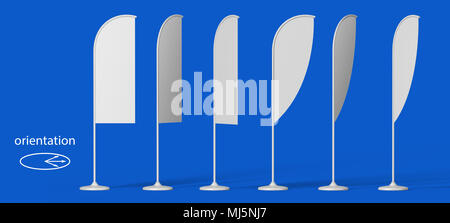 Blank promotion flags at different angles with white stand on a blue background. the view from the side. 3D Illustration Isolated. Mock Up Template Re - Stock Photo