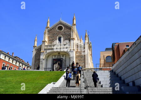 View of San Jerónimo el Real church from the Prado Museum entrance, Madrid, Spain - Stock Photo