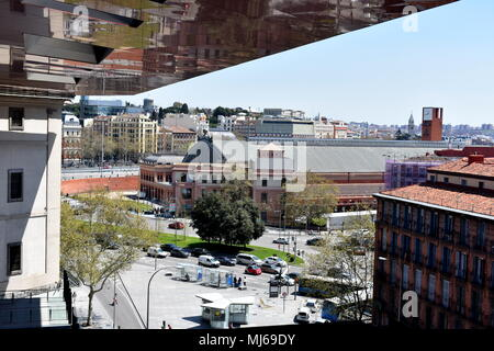 View down towards the street and Atocha train station from the top floor viewing gallery of the Reina Sofia museum, Madrid, Spain - Stock Photo