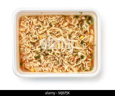 Top view of foam container full of instant noodles isolated on white - Stock Photo