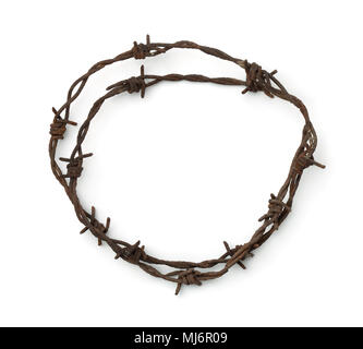 Top view of rusty barbed wire isolated on white - Stock Photo