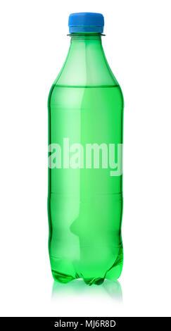 Plastic bottle of lemon soft drink isolated on white - Stock Photo