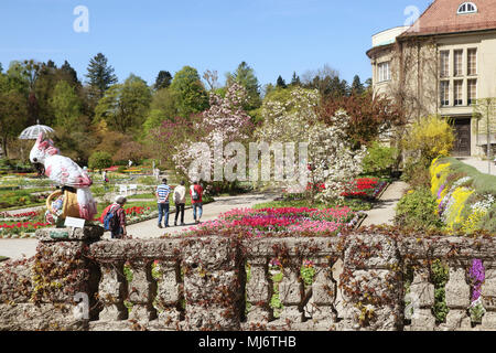 MUNICH, GERMANY -   APRIL 20, 2018  - Spring at Botanical garden in Munich. The botanical Garden was created in 1914 and cultivates about 14.000 speci - Stock Photo