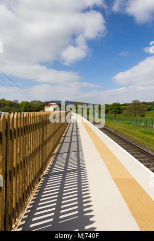 Burrs Country Park station on the East Lancashire Railway. This new railway station has been built to serve the Burrs Country Park and caravan site. - Stock Photo