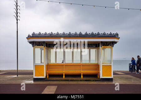 Victorian seaside shelter on the prom at Southsea in Hampshire on an overcast day - Stock Photo