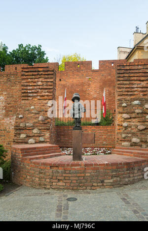 Warsaw, Poland - May 03, 2108: Monument of the Little Insurgent commemorating child soldiers who took part in the Warsaw Uprising 1944 - Stock Photo