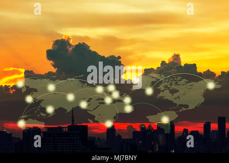 Global digital connection communication social network concept. Connection glowing dots and lines on world map in the sky. Digital technology backgrou - Stock Photo